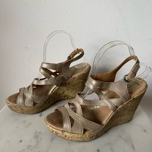 BOC Metallic Wedge Slingback Sandal